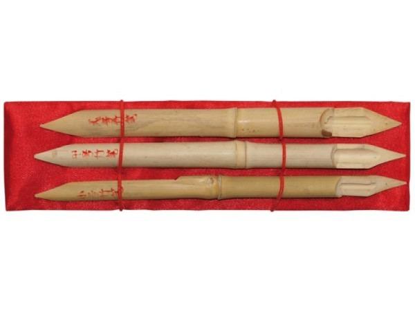 Bambusfeder Set 3Stk. 20cm lang, mit Gummiband