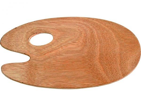 Palette Holz oval 25x35cm 5mm lackiert, Meranti furniert