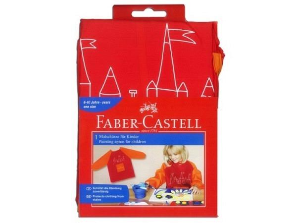 Malschürze Faber-Castell brombeer mit pinkfarbenen Ärmeln