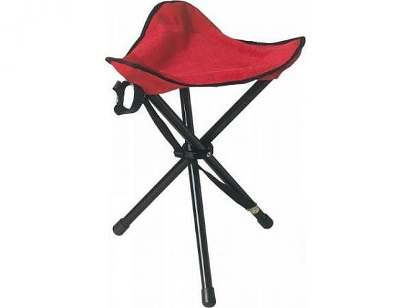 Feldsessel Metall schwarz lackiert, Sitzfläche rot Stoff