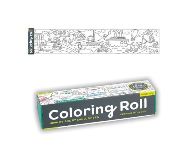 Malbuch Bertoy Mudpuppy Colouring Rolls Mini By Air, Land and Sea