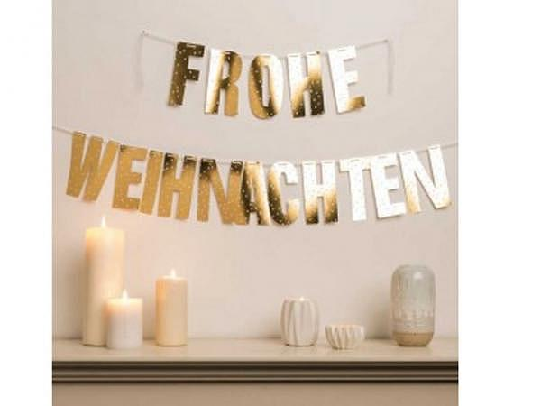 Girlande PaperPoetry Frohe Weihnachten Hot Foil gold