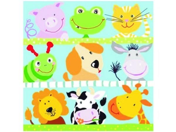 Servietten Braun All meine Tiere mit gemalten Tiergesichter