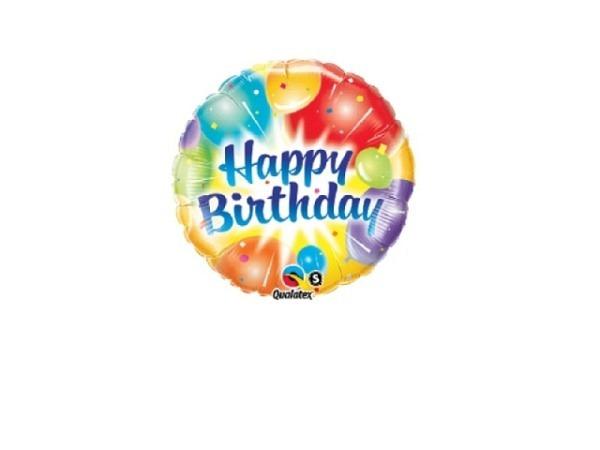 Ballone Folie ungefüllt Scheibenform Happy Birthday Ballone