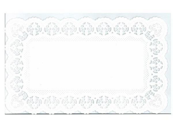 Tortenpapier Staufen Dekor Blüte weiss eckig 18x30cm, 6Stk.
