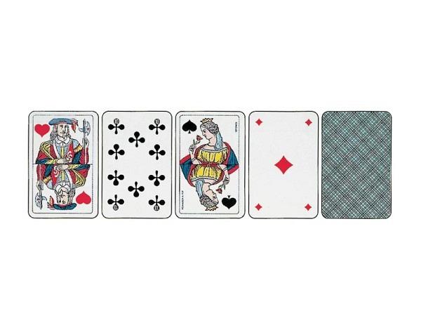 Kartenspiel Jass französische Figuren Piquet, Hellblau