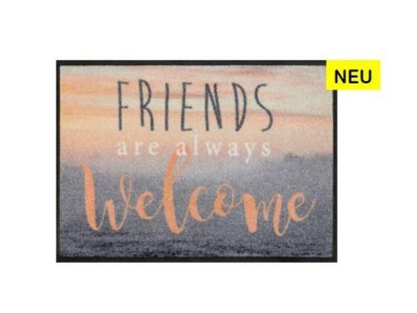 Fussmatte KleenTex Wash+Dry Friends are always Welcome 50x75cm