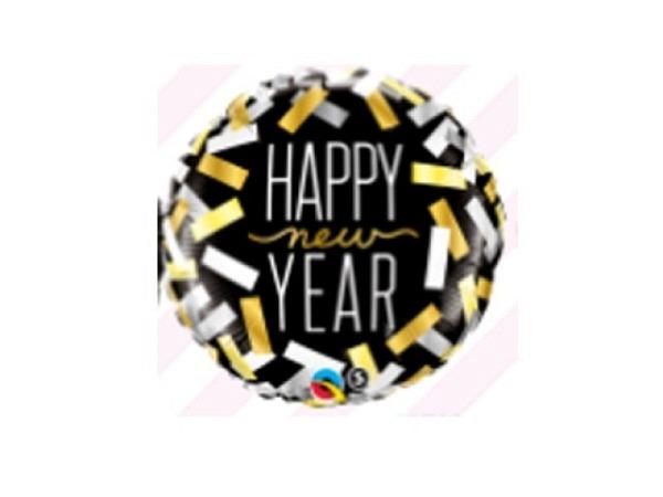 Ballone Folie ungefüllt rund mit Schriftzug Happy New Year