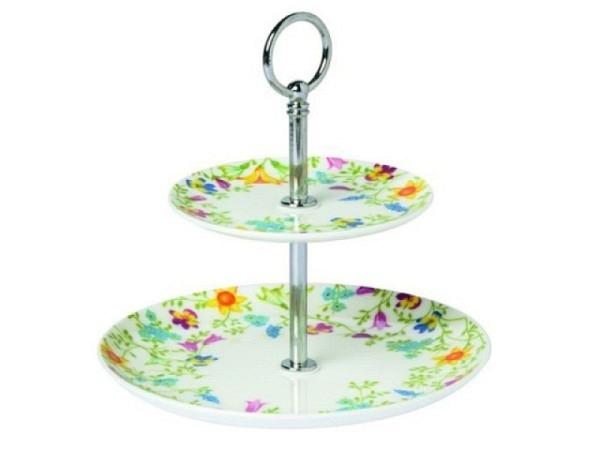 Etagere Ihr Pretty in Spring weiss 15,5cm hoch 2tlg., aus Porzellan mit filigranen bunten Blumen, Metallstange
