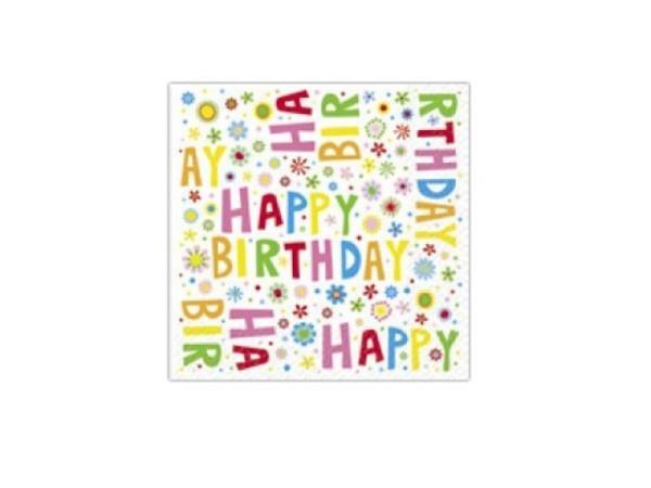 Servietten Stewo Donata weiss Happy Birthday 20Stk