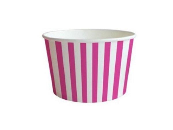Becher Braun Party Time Streifen pink Karton 16x6,5cm