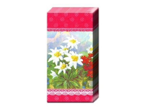 Taschentuch Ihr Alpenglühen roter Hintergrund, Alpenblumen
