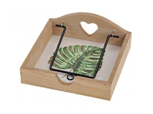 Serviette Halter aus hellfarbenem Holz mit Tropicalblätter