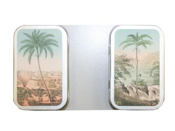 Bonbon Dose Sköna Ting, zwei verschiedene Palmen Motive in einer schönen Metall-Dose