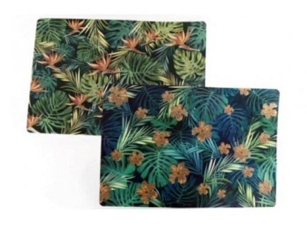 Tischset gold leaf 48x33x1cm, in zwei verschiedene Ausführungen erhältlich, mit Blumen rosa/blau, aus Kunststoff, 34g schwer