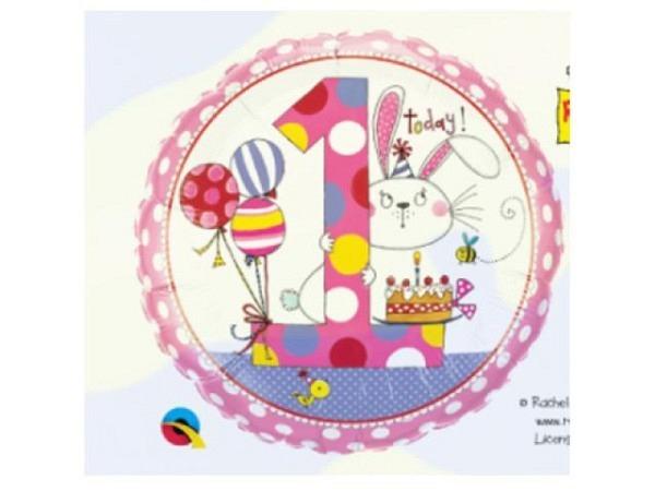 Ballone Folie 1St Birthday, Häschen, Durchmesser 38/46cm