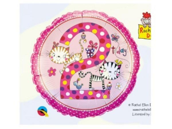 Ballone Folie 2St Birthday, kätzchen, Durchmesser 38/46cm