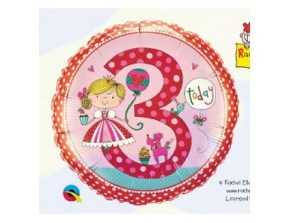 Ballone Folie 3St Birthday, Princess und Pudel, Durchmesser 38/46cm