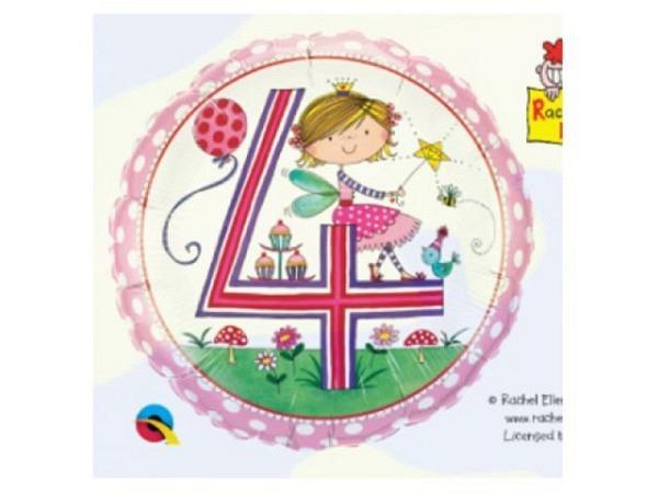 Ballone Folie 4St Birthday, Princess mit Zauberstab, Durchmesser 38/46cm
