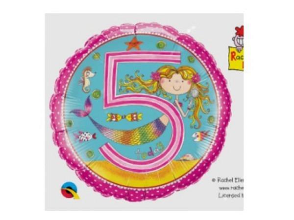 Ballone Folie 5St Birthday, Meerjungfrau und Fische, Durchmesser 38/46cm