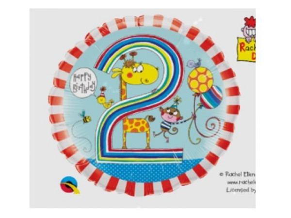 Ballone Folie 2St Birthday, Zootiere und Ballons, Durchmesser 38/46cm