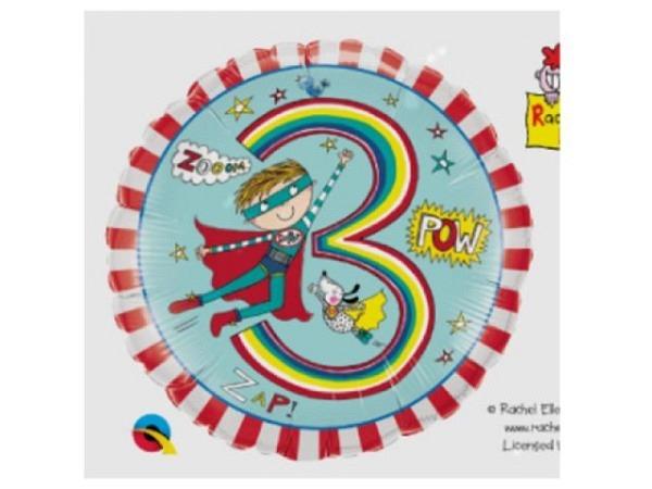 Ballone Folie 3St Birthday, Superboy, Durchmesser 38/46cm
