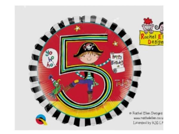 Ballone Folie 5St Birthday, Pirat, Durchmesser 38/46cm