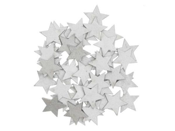 Streudeko Rico Design Sterne silber 48Stk aus Holz flach, eignet sich zur Verzierung von Geschenken