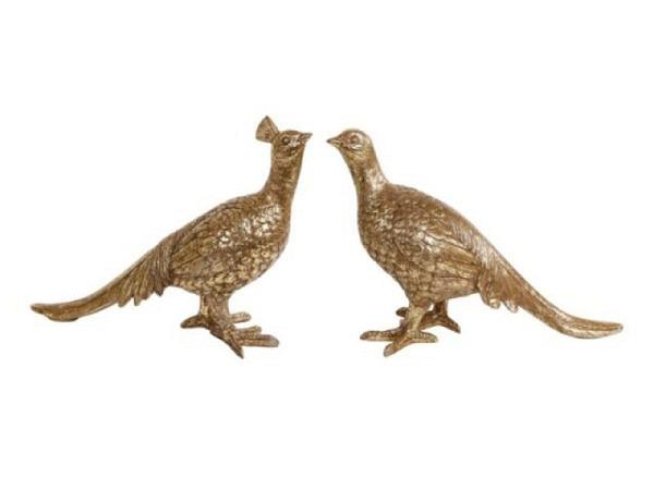Deko Vögel antic gold, 33x11,5x24,5cm,