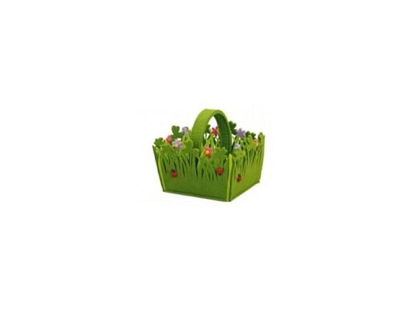 Deko Filzkorb grün mit Blumen und Marienkäfer, mit Henkel, BxTxH 12x11x10cm