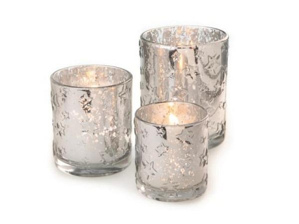 Teelichthalter Glas Sterne, silber