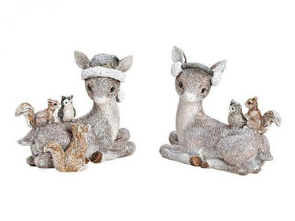Deko Reh Glitter sitzend mit Tieren aus Poly grau 10x9x5cm