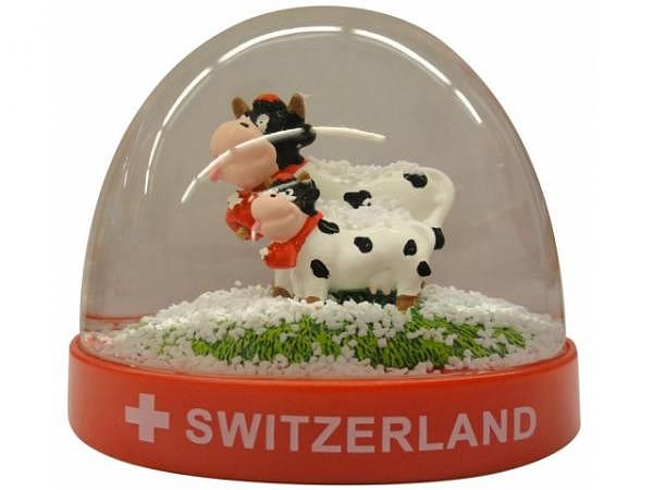 Schneekugel Funny Cow, Sockel aus Gips rot