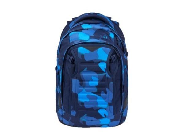 Rucksack Ergobag Satch Match Blue Crush blaues Dreieckmuster, mit Front Flap f�r Fahrradhelm oder Fu