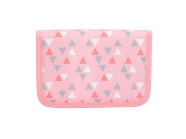 Schüleretui Funki Pink Triangle mit 2 Klappen, rosa mit Dreiecken innen grau