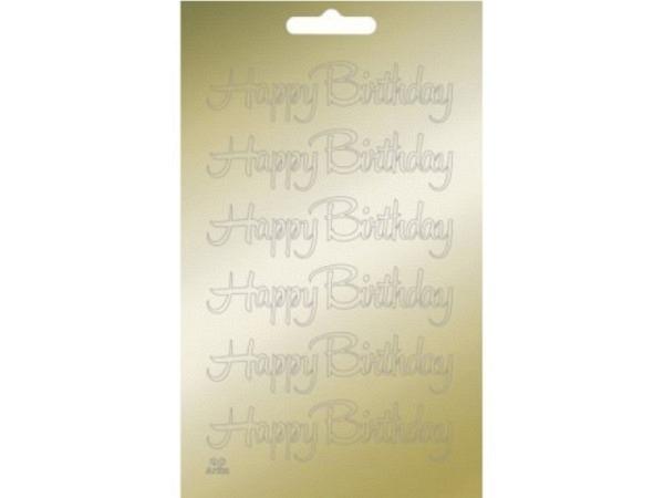 Aufkleber Artoz Collato Happy Birthday gold geschwungen
