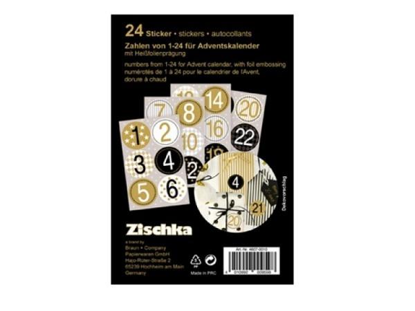 Aufkleber Zischka Adventskalendersticker 1-24 schwarz-gold