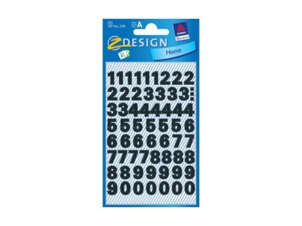 Aufkleber Zweckform Home, mehrere Zahlen 0-9 schwarz 9,5mm