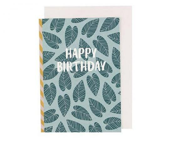 Geburtstagskarte Ava&Yves Blätter A6 14,8x10,5cm