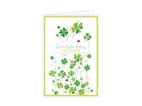 Geburtstagskarte Hanra Kleeblatt 11,5x17,0cm B6