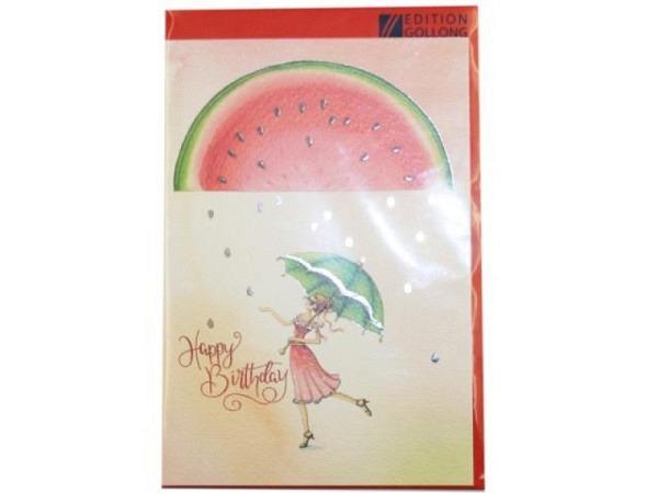 Geburtstagskarte Gollong Doppelkarte zum Geburtstag bedruckt mit Mädchen mit Schirm und Wassermelone, mit Text Happy Birthday, ohne Einlageblatt