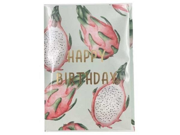 Geburtstagskarte Creative Lab Amsterdam Pitaya 12x17,5cm hellgrüne Doppelkarte, bedruckt mit Drachenfrucht
