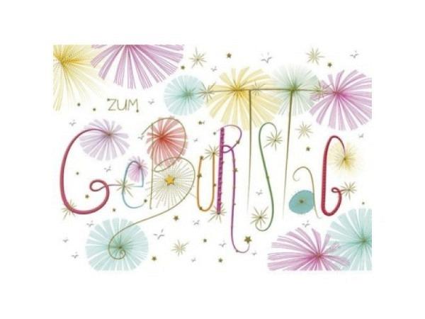 Geburtstagskarte Turnowsky Happy Birthd. langstielige Blumen