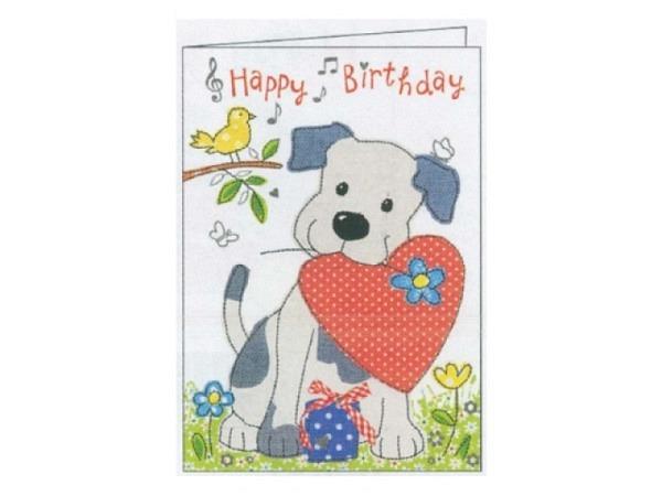 Geburtstagskarte Gollong Hund mit Herz in der Schnauze