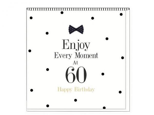 Geburtstagskarte Black Tie Zahlengeburtstag 60 15x15cm