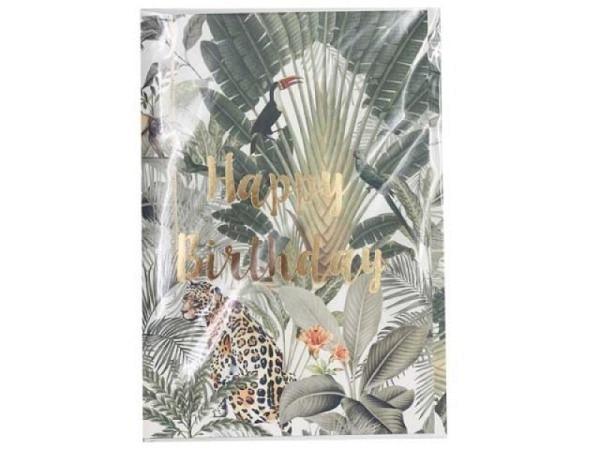 Geburtstagskarte Creative Lab Amsterdam Jungle 12x17,5cm weisse Doppelkarte, bedruckt mit Gepard, Affen und Papagei im Jungle