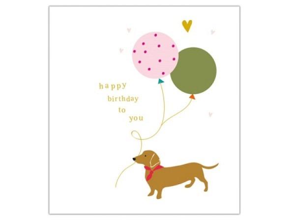 Geburtstagskarte Caroline Gardner Tippy-Toes Happy Birthday Dog 14,6x14cm