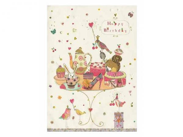 Geburtstagskarte Turnowsky Happy Birthday buntes Teegeschirr