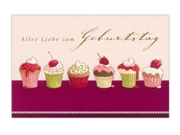 Geburtstagskarte ABC Cupcakes 11,5x17cm