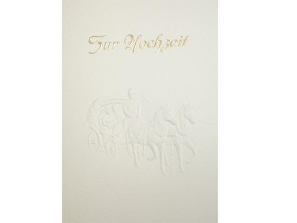 Vermählungskarte Papierprägung A5, Zur Hochzeit, Kutsche